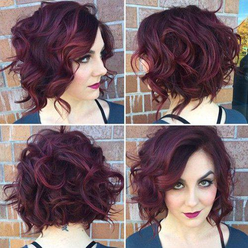 Fluffy Curly Synthetic Trendy Wine Red Side Bang Capless Short Wig For Women - WINE RED