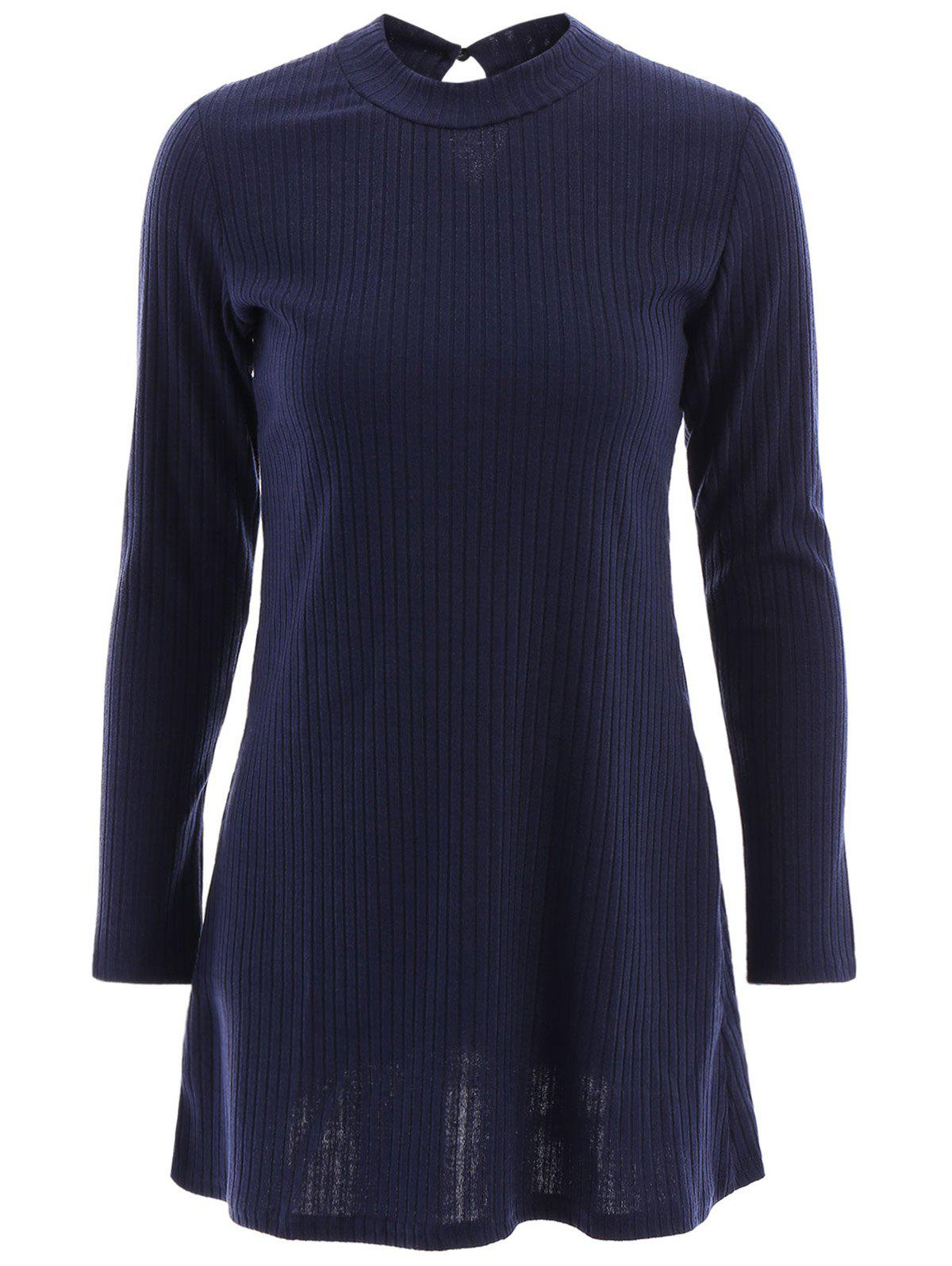 Brief Womens Round Neck Long Sleeve Hollow Out A-Line DressWomen<br><br><br>Size: M<br>Color: PURPLISH BLUE