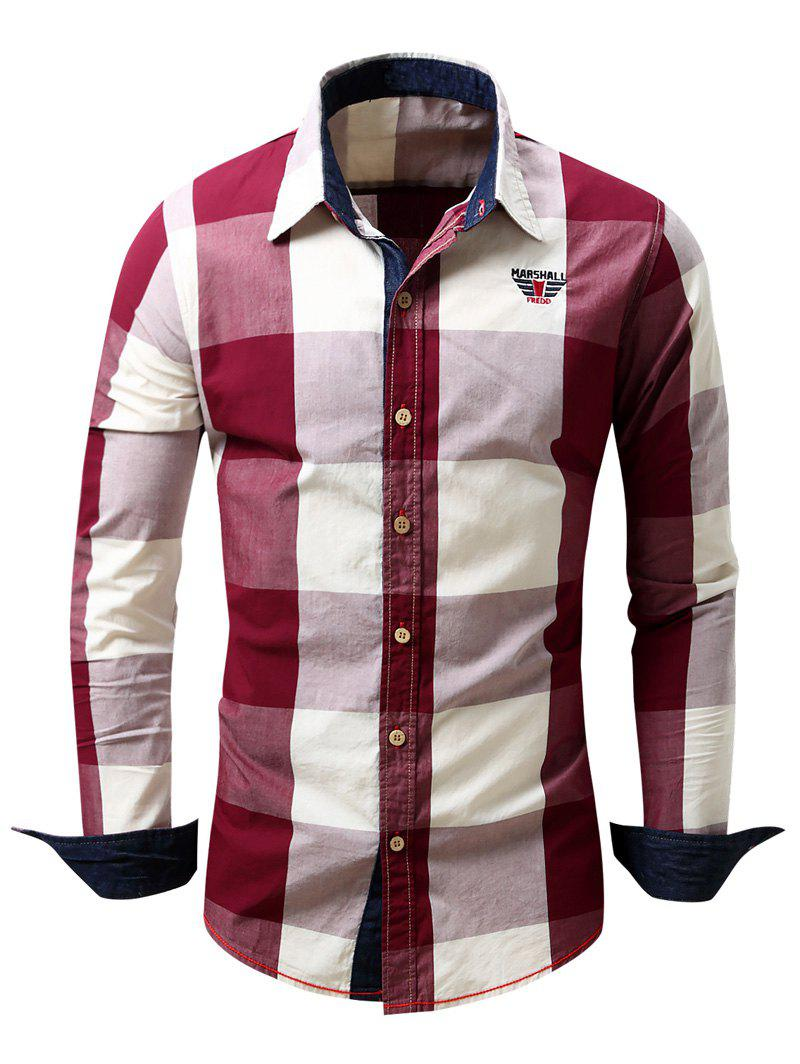 Men's Turn-Down Collar Plaid Pattern Long Sleeve Shirt - RED 2XL