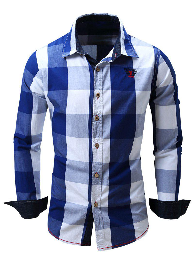 Men's Turn-Down Collar Plaid Pattern Long Sleeve Shirt - BLUE M