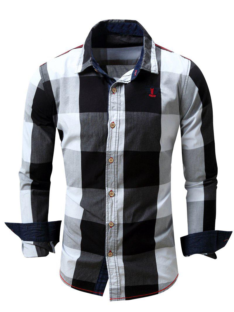 Men's Turn-Down Collar Plaid Pattern Long Sleeve Shirt - BLACK L