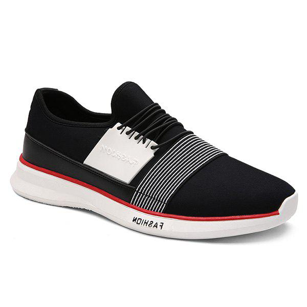 Trendy Striped and Elastic Design Men's Athletic Shoes - BLACK 40
