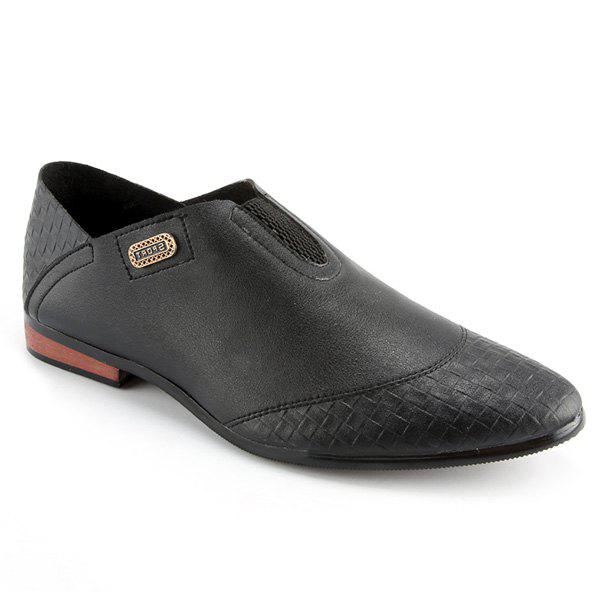 Stylish Slip-On and Solid Color Design Men's Casual Shoes - BLACK 42