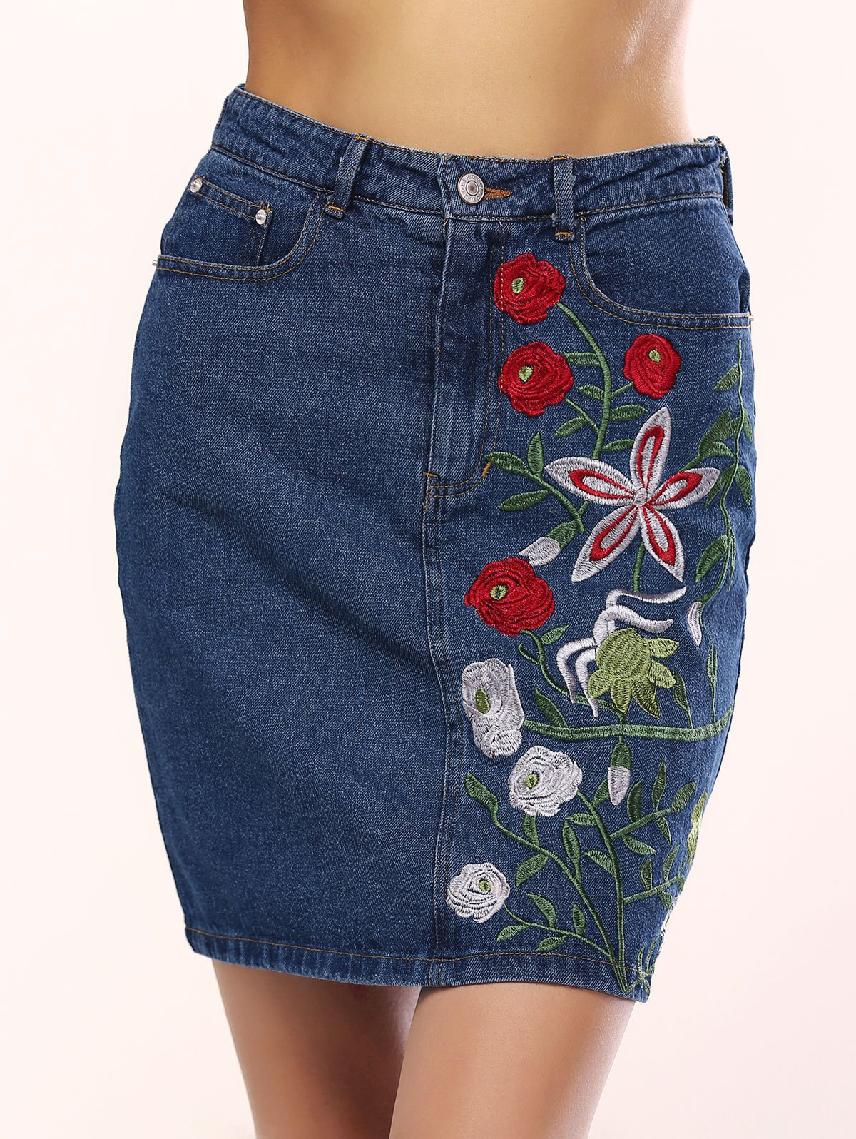 Refreshing Floral Embroidery Denim Skirt For Women - BLUE L