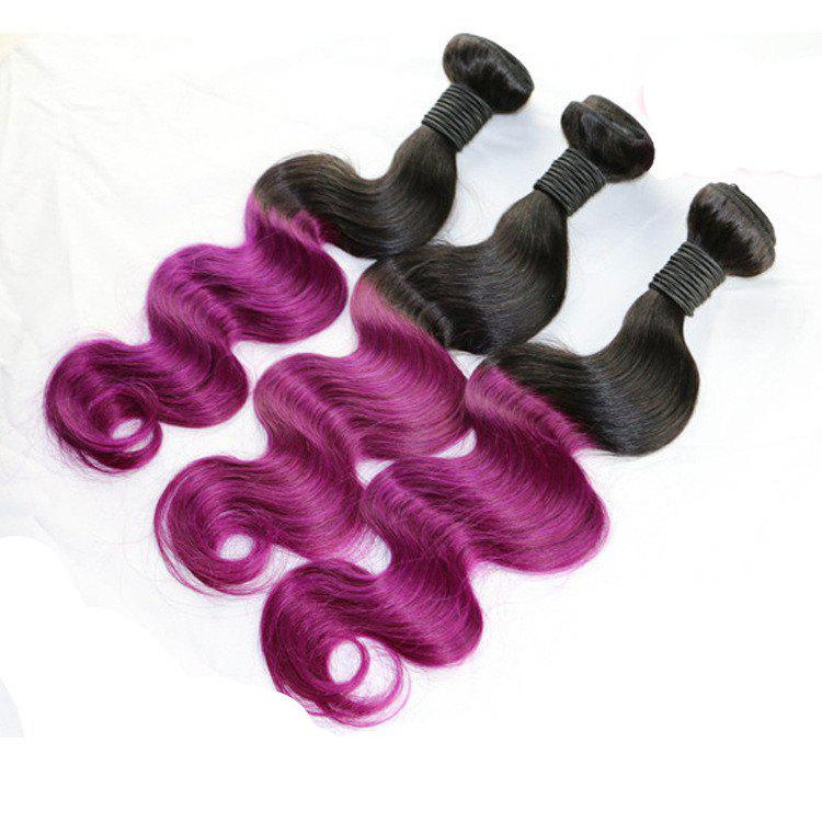 Fashion 1 Pcs Black Mixed Purple Body Wave Women's 7A Virgin Brazilian Hair Weave - COLORMIX 24INCH
