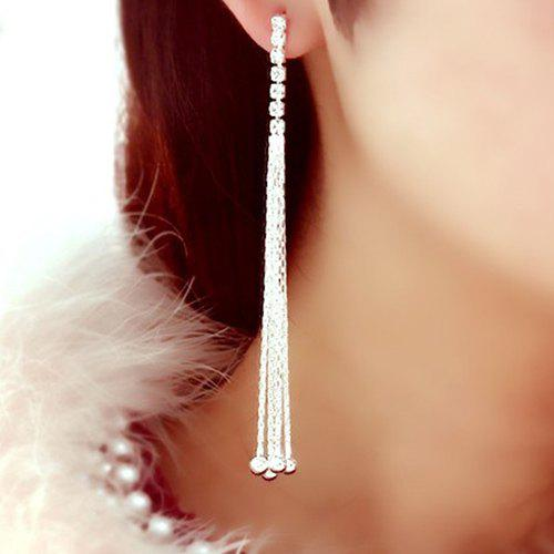 Pair of Rhinestone Long Chain Tassel Earrings rhinestone ball hook long chain earrings