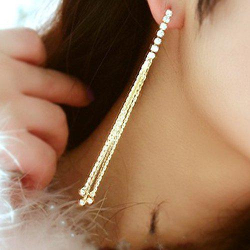 цены Pair of Rhinestone Long Chain Tassel Earrings
