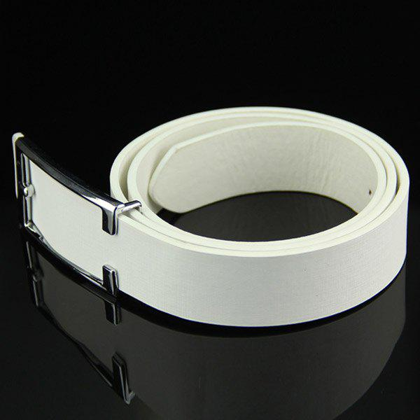 Stylish Simple Cut Out Rectangle Buckle Men's Casual PU Belt - WHITE