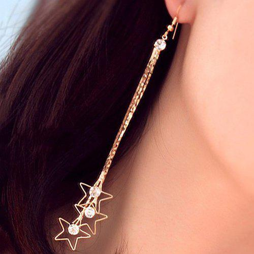 Long Fringe Rhinestone Pentagram Earrings - GOLDEN