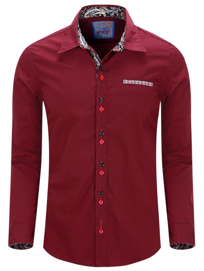 Collier Double Bouton Turn-Down Shirt Men 's  conception à manches longues - Rouge vineux XL