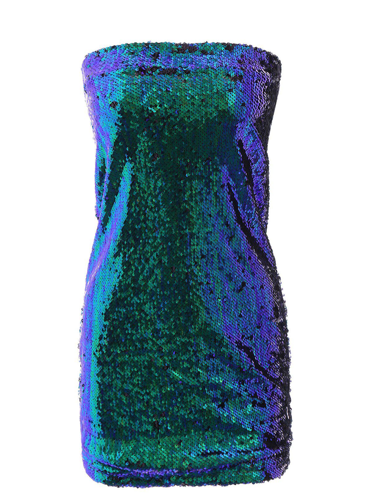 Women's Trendy High Waist Skinny Sequined Skirt - GREEN XL