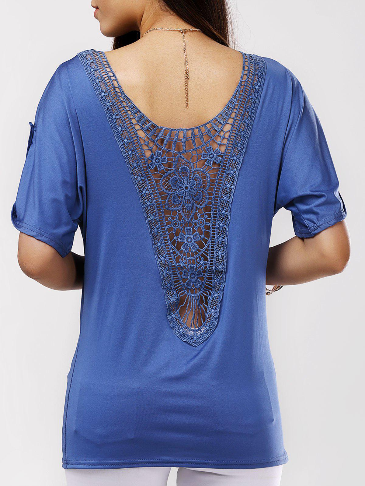 Back Openwork Pure Color Blouse