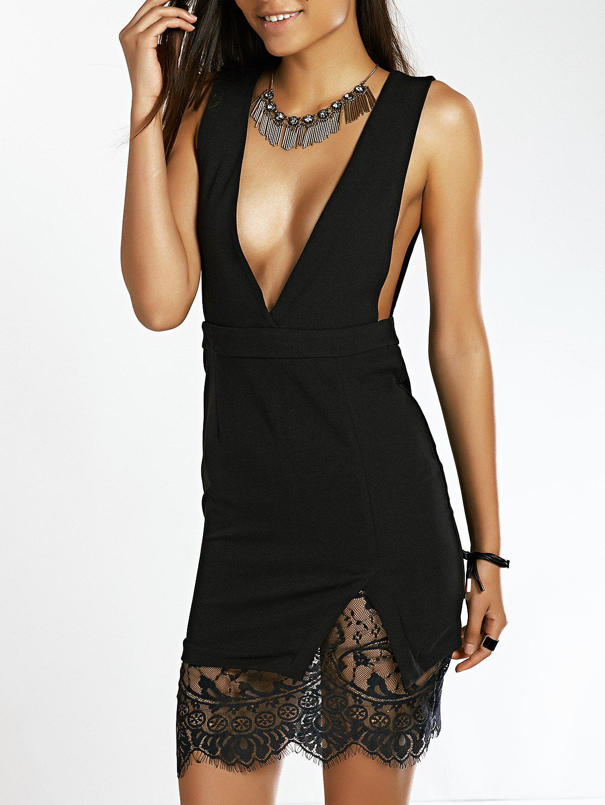 Stylish Women's Plunging Neck Lace Splicing Backless Dress - BLACK M