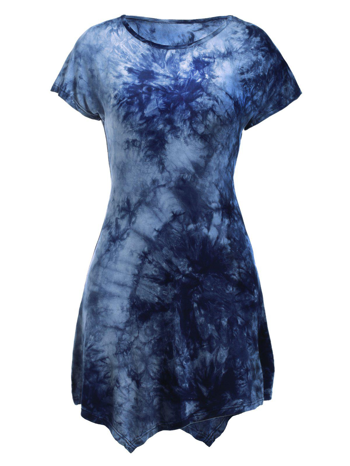 Round Neck Short Sleeve Tie-Dyed Asymmetric Dress - BLUE XL