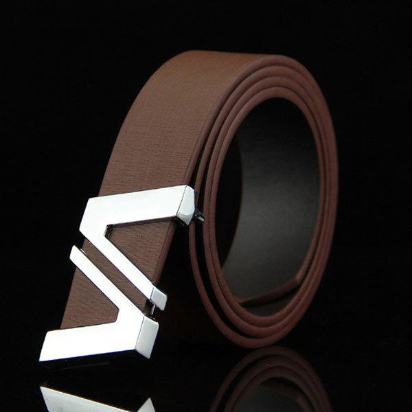 Stylish Double Cut Out Letter V Shape Embellished Men's Casual PU Belt - COFFEE