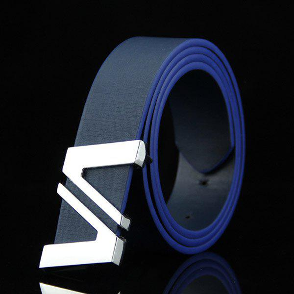 Stylish Double Cut Out Letter V Shape Embellished Men's Casual PU Belt - DEEP BLUE