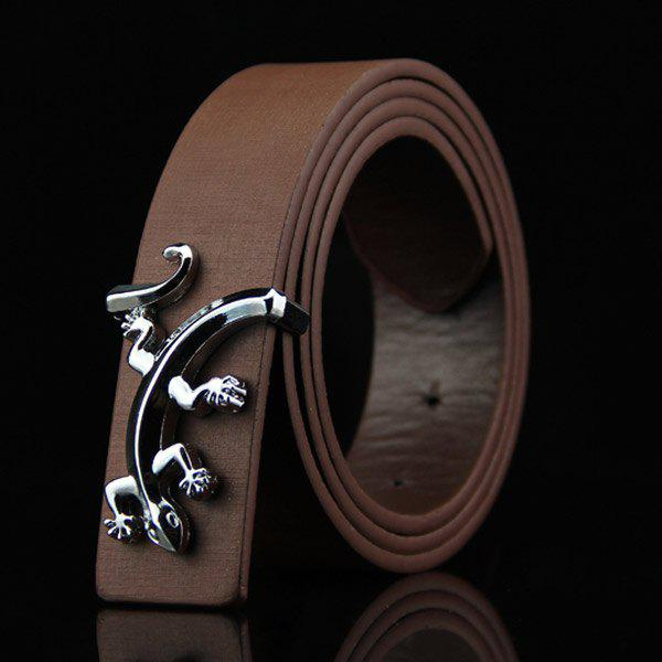 Stylish Reptile Gecko Shape Embellished Men's Casual PU Belt - COFFEE