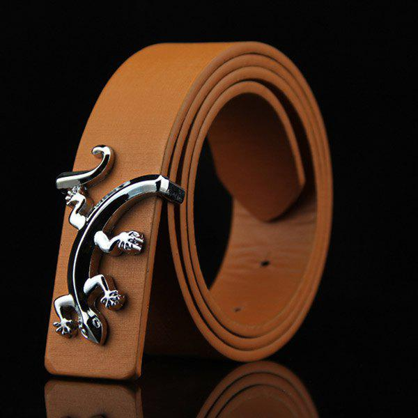 Stylish Reptile Gecko Shape Embellished Men's Casual PU Belt - BROWN