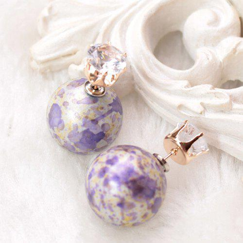 Pair of Faux Zircon Double End Scrawl Ball Earrings - PURPLE