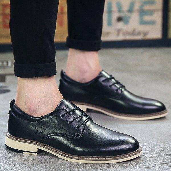 Trendy Tie Up and PU Leather Design Men's Formal Shoes - BLACK 43
