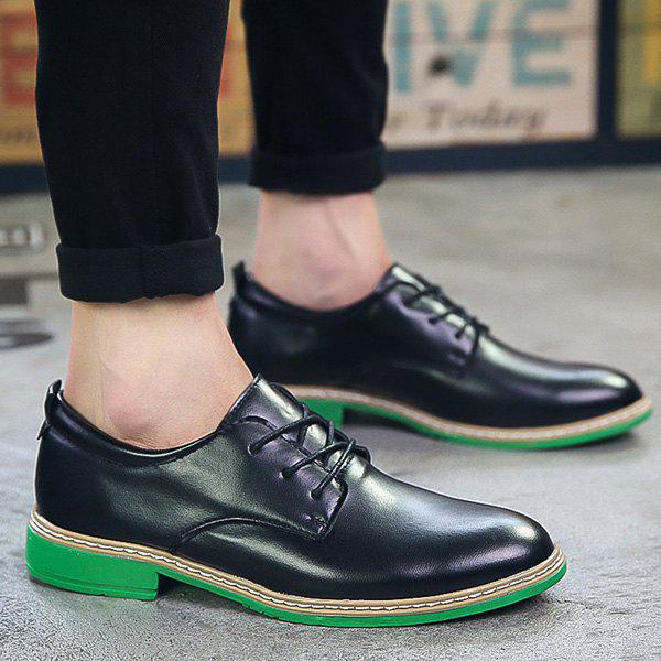 Trendy Tie Up and PU Leather Design Men's Formal Shoes - BLACK/GREEN 42