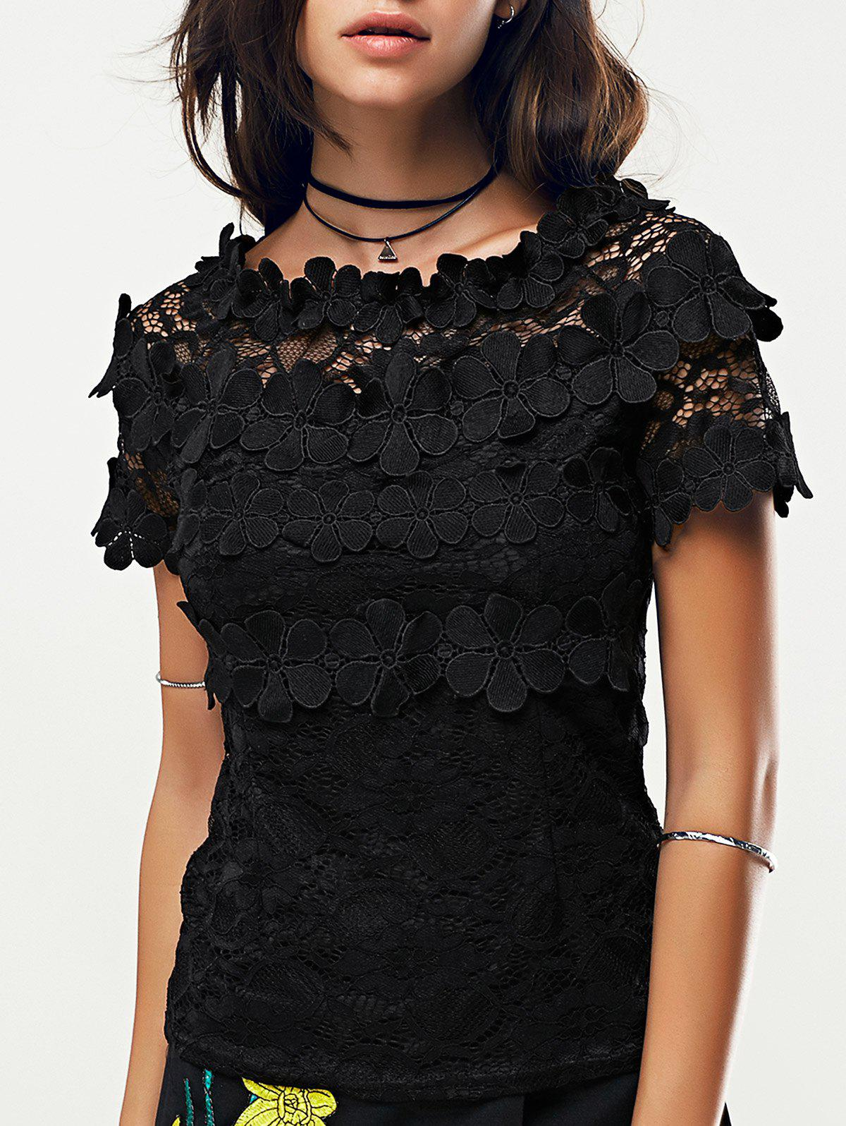 Black Short Sleeve Lace Blouse - BLACK ONE SIZE(FIT SIZE XS TO M)