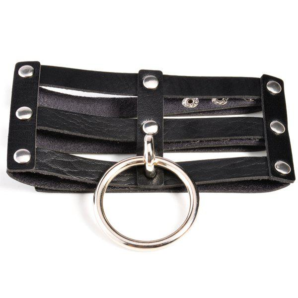 Layered Faux Leather Circle Necklace - BLACK