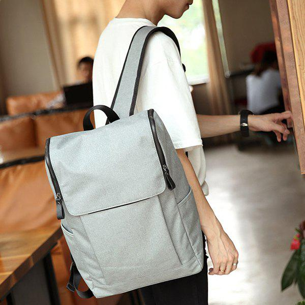 Casual Double Zips and Solid Color Design Men's Backpack - LIGHT GRAY