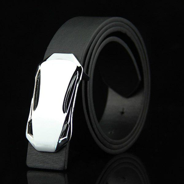 Stylish Classical Sports Car Shape Embellished Men's Casual PU Belt - BLACK