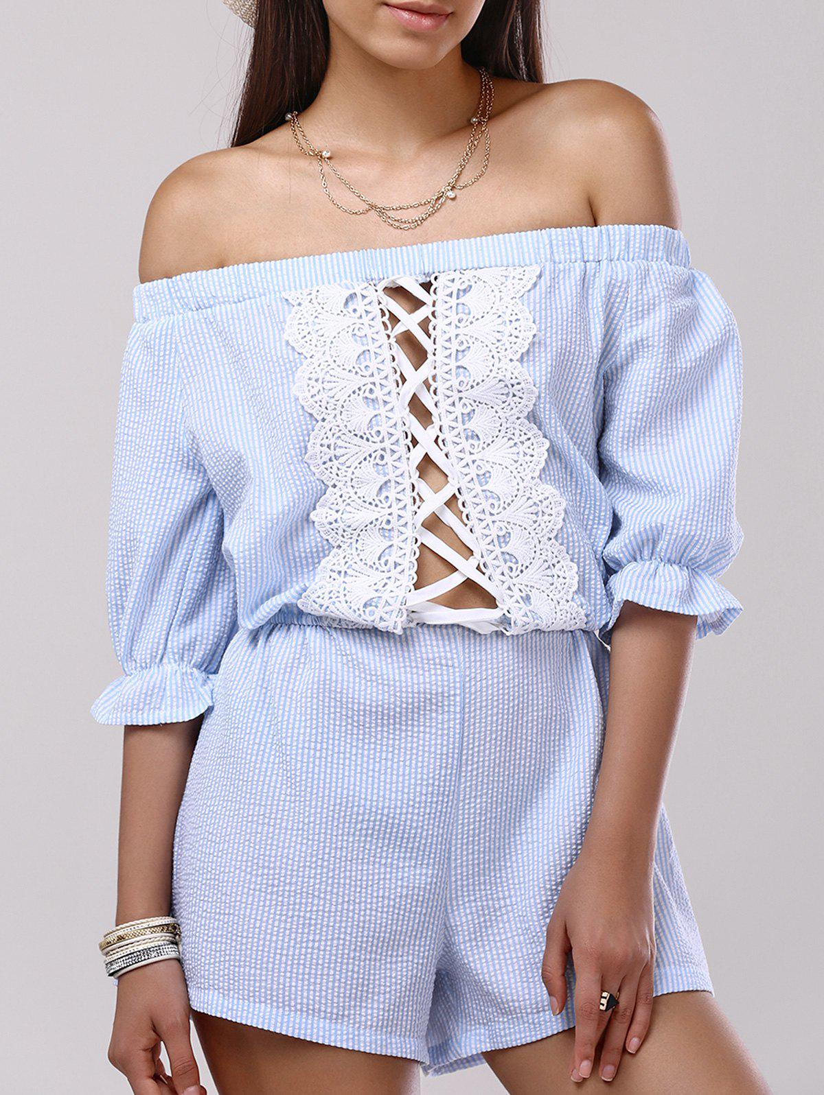 Casual Off-The-Shoulder Lace Hollow Out Romper For Women - LIGHT BLUE XL