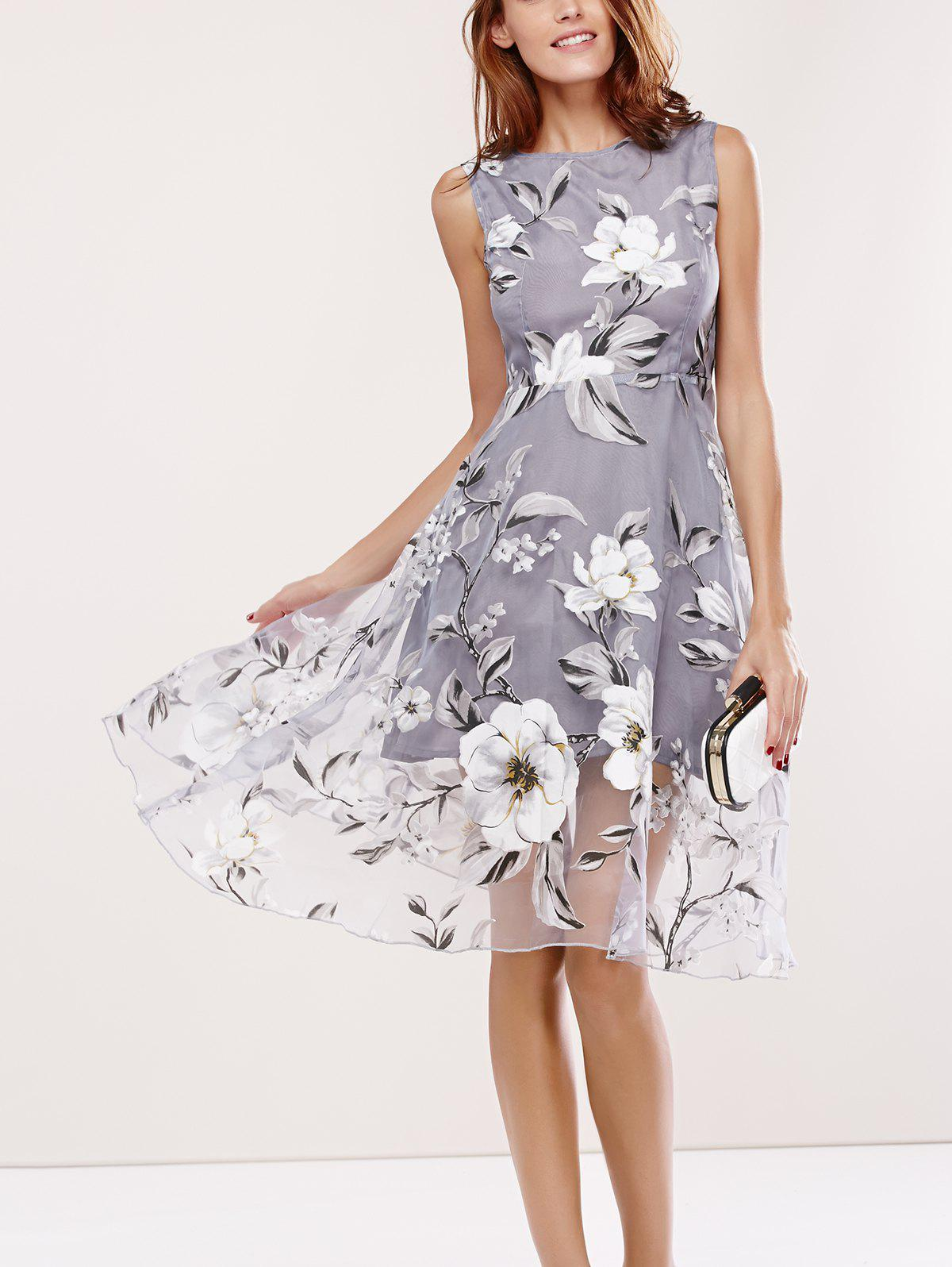 Sleeveless Round Neck Spliced Floral Print Dress - GRAY XL