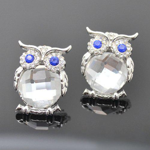 Pair of Vintage Faux Crystal Owl Stud Earrings For Women