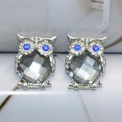 Pair of Faux Crystal Owl Stud EarringsJewelry<br><br><br>Color: GRAY