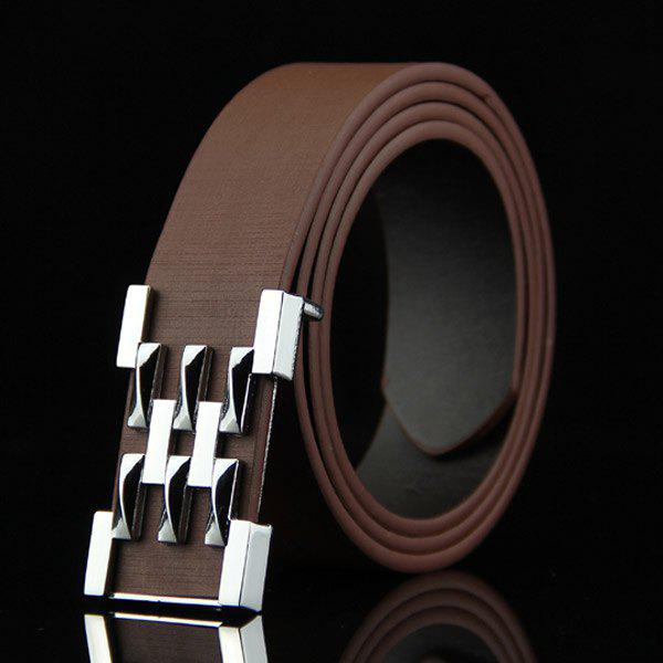Stylish Silver Abstract Geometry Shape Embellished Casual Men's Belt -  COFFEE