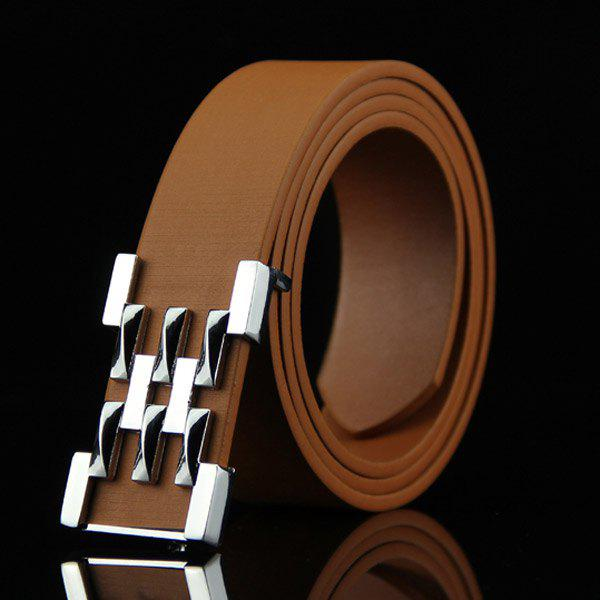 Stylish Silver Abstract Geometry Shape Embellished Casual Men's Belt - BROWN