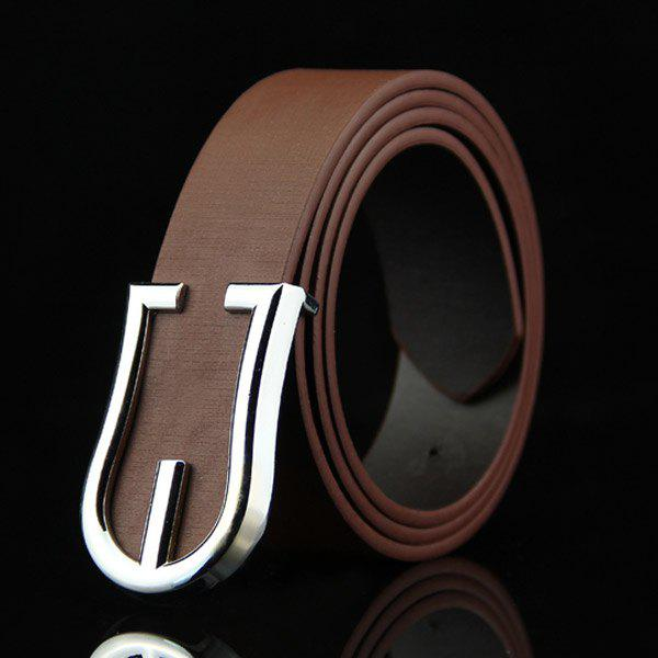 Stylish Hollow Out Silver Shield Shape Embellished Men's Belt - COFFEE