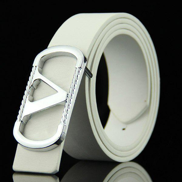 Stylish Cut Out Letter V Round Rectangle Shape Embellished Men's Casual PU Belt - WHITE