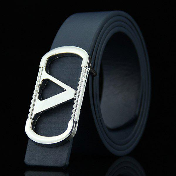 Stylish Cut Out Letter V Round Rectangle Shape Embellished Men'S Casual Pu Belt - Bleu Foncé
