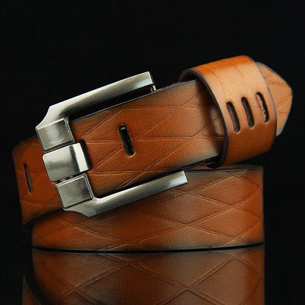 Stylish Pin Buckle Rhombus Mesh Embossed Men's Casual PU Belt - BROWN