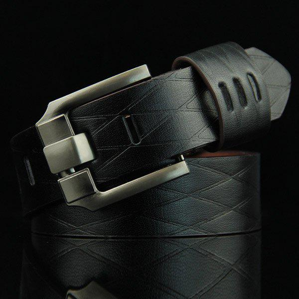 Stylish Pin Buckle Rhombus Mesh Embossed Men's Casual PU Belt - BLACK