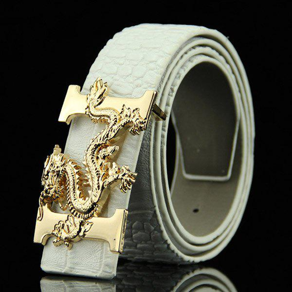 Stylish Chinese Dragon Shape Buckle Crocodile Skin Embossed Men's Casual PU Belt - WHITE