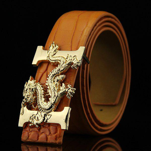 Stylish Chinese Dragon Shape Buckle Crocodile Skin Embossed Men's Casual PU Belt - BROWN