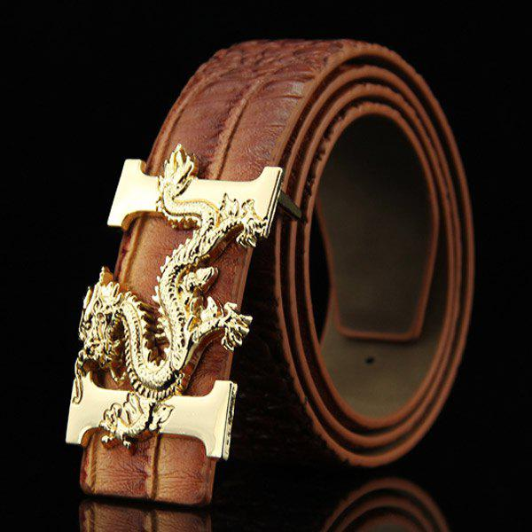 Stylish Chinese Dragon Shape Buckle Crocodile Skin Embossed Men's Casual PU Belt - LIGHT COFFEE
