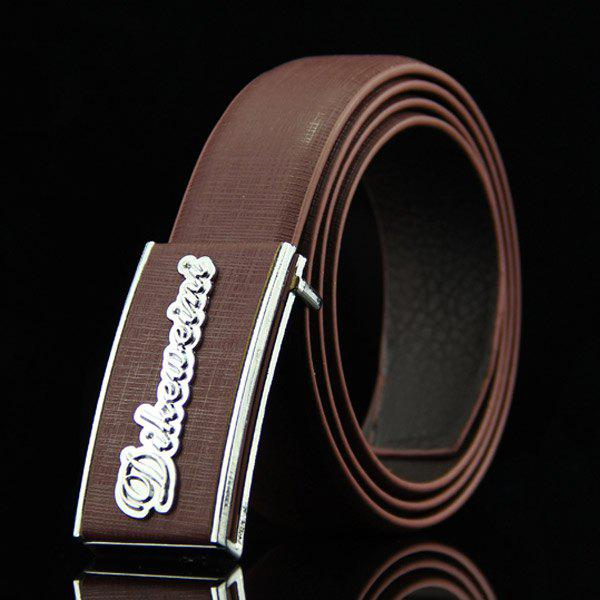 Stylish Letter Shape Embellished Rectangle Buckle Men's Casual PU Belt - COFFEE
