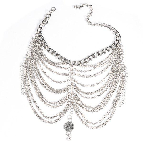 Graceful Layered Chains Engraved Coin Anklet For Women -  SILVER