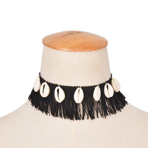 Faux Conch Tassel Choker Necklace - BLACK