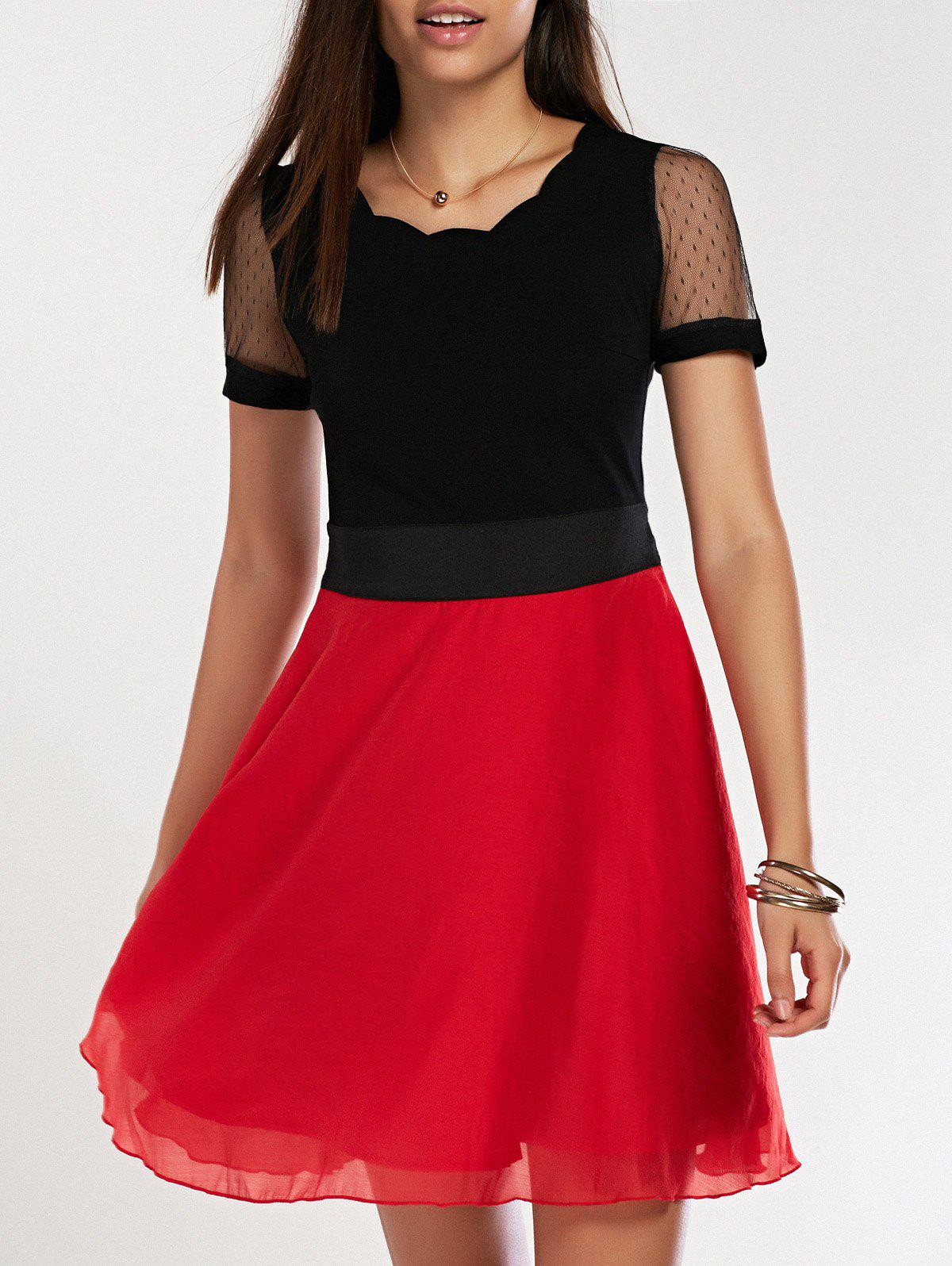 Hit Color Short Sleeve A-Line Dress - 2XL RED/BLACK