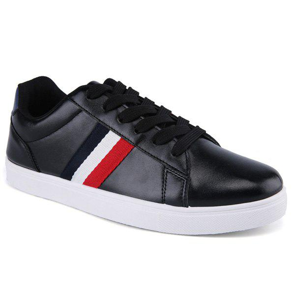 Simple Color Splicing and Striped Design Men's Casual Shoes - BLACK 43