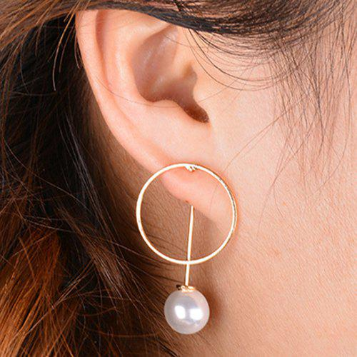 Hollowed Circle Faux Pearl Drop Earrings - CHAMPAGNE