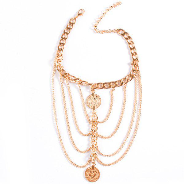 Graceful Engraved Layered Chains Coin Anklet For Women - GOLDEN